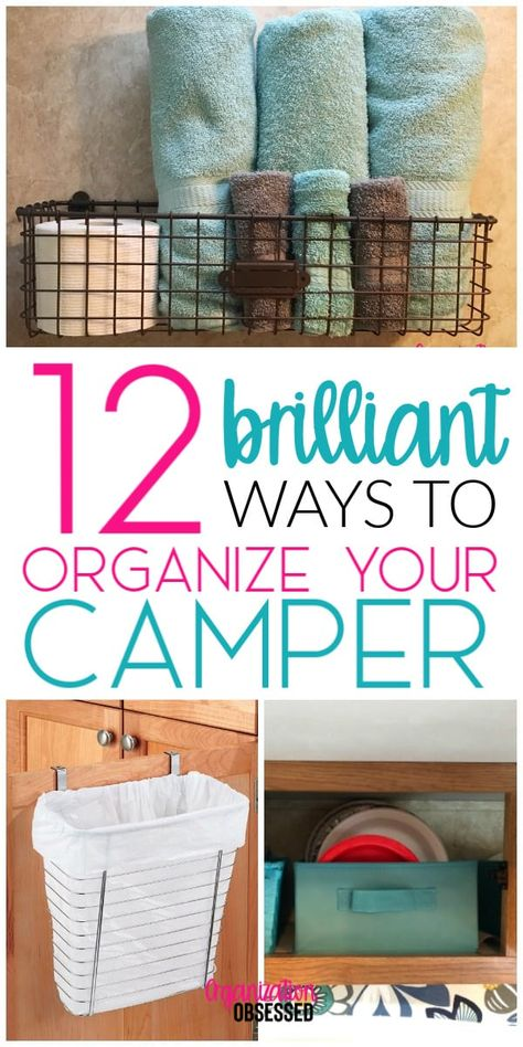 12 Brilliant Ways To Organize Your Camper or RV. 12 Brilliant Ways To Organize Your Camper. These genius ways to organize your camper will help you gain more storage space in your camper, keep it clean and organized, and make you a happy camper! Travel Trailer Organization, Travel Trailer Camping, Camping Organization, Travel Trailer Living, Organized Camping, Organization Ideas, Organizing A Camper, Living In A Camper, Travel Trailer Decor
