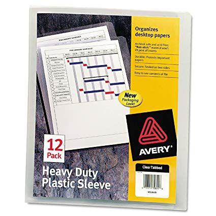 Amazon Com Avery 72611 Heavy Duty Plastic Sleeves Letter Polypropylene Clear Pack Of 12 Sheet Protectors Off Paper Organization Heavy Duty Lettering
