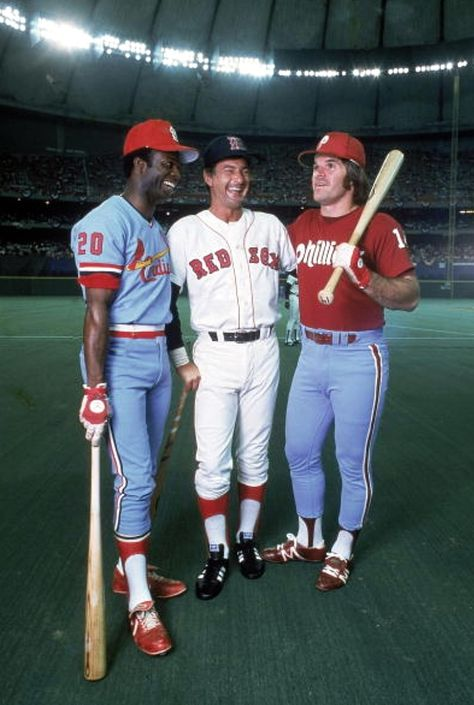 Lou Brock, Carl Yastrzemski and Pete Rose at the 1979 All-Star Game, laughing at all the other puny mortals. : Lou Brock, Carl Yastrzemski and Pete Rose at the 1979 All-Star Game, laughing at all the other puny mortals. Red Sox Baseball, Cardinals Baseball, Sports Baseball, Baseball Cards, Basketball Hoop, Pirates Baseball, Basketball Tickets, Angels Baseball, Baseball Field