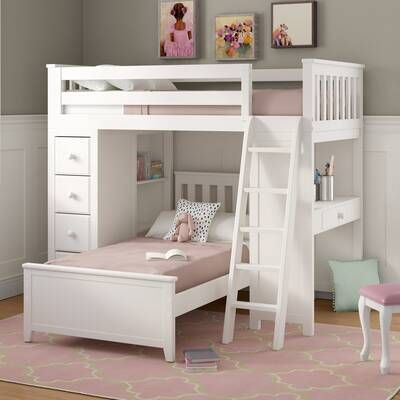 Ayres Twin Loft Bed With Drawers And Shelves In 2020 Bunk Beds For Girls Room Bed For Girls Room Bed With Drawers