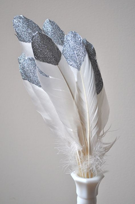 glittered feathers-painted instead of dipped.  I kinda like this look better.