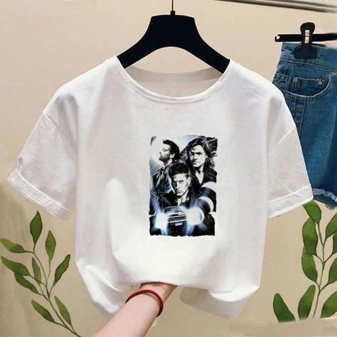 Women Supernatural Winchester Bros Print T-shirt 2020 Summer Fashion Cute Anime Ullzang Short Sleeved T-shirt  Girl,Drop Ship - P7231-6 / XS