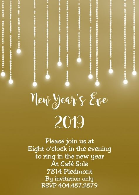 New Year Invitation Template 2019 New Years Eve Party Eve