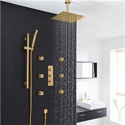 Best Gold Shower System Sale Fontana Gold Plated Thermostatic