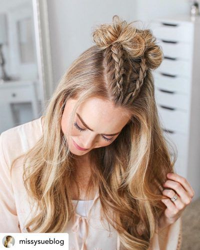 Do You Want The Perfect New Back To School Hairstyle Dutch V Braids And Topknots Are In 2020 Hair Styles Easy Hairstyles For Long Hair Cute Hairstyles For Medium Hair