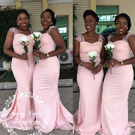 de9640f473d89 Wholesale 2018 Light Pink Mermaid Bridesmaid Dresses With Capped Sleeves  Black African Girls Long County Maid Of Honor Dress Party Gown