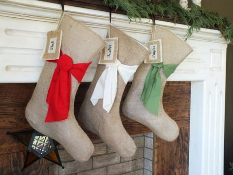 christmas burlap stockings pick your color personalized names beautiful natural burlap shabby chic home red green cream custom set