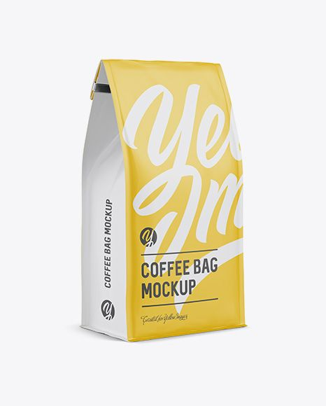 Download Matte Coffee Bag W A Tin Tie Mockup Halfside View In Pouch Mockups On Yellow Images Object Mockups Mockup Free Psd Free Psd Mockups Templates Mockup Psd