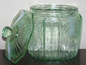 Depression Glass Cookie Jars.....I have this one.  Given to me from my longtime friend Vicky....