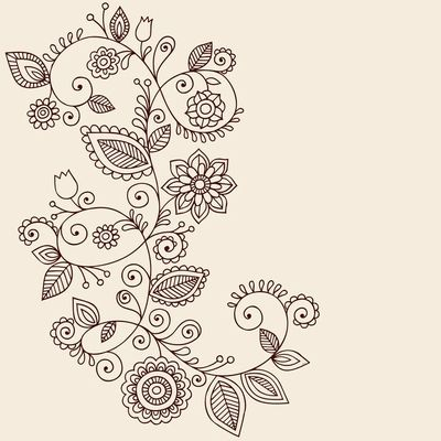 Draw Flowers Clip Art of Vines Henna Tattoo Paisley Vector - Search Clipart, Illustration Posters, Drawings, and EPS Vector Graphics Images - - Hand-Drawn Abstract Henna Mehndi Mandala Flowers and Vine Paisley Doodles Vector Illustration Design Elements