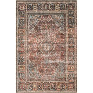 Loloi Loren Terracotta And Sky Rectangular 7 Ft 6 In X 9 Ft 6 In Rug Lorelq 15tcsc7696 Bellacor Rugs Loloi Rugs Area Rugs