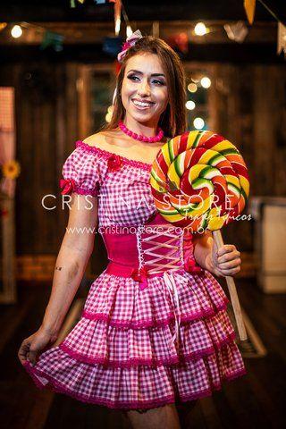 38ca124f97b0 Vestido Xadrez Mariana - Festa Junina Caipira Chic | vestido junino ...