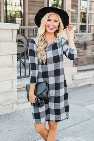 Checkmate Plaid Dress Black And White Mini Dress Casual Long Sleeve Casual Dress Mini Dress With Sleeves