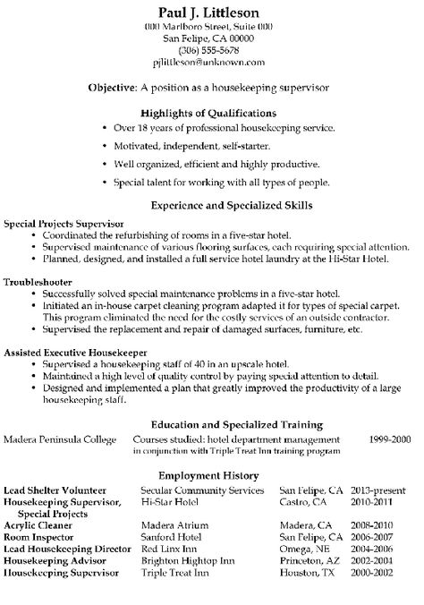 resume sample housekeeping supervisor with regard ...