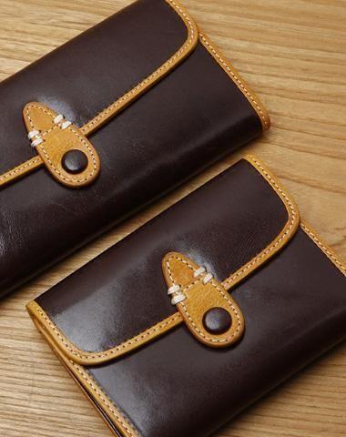 Handamde Leather Cute Short Long Slim Wallet Bifold Clutch Cards