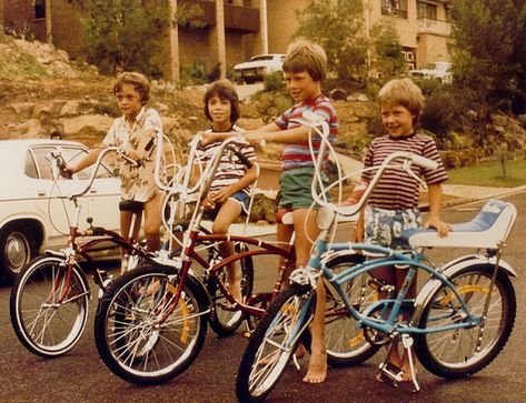 Had a green banana seat bike, no hand-breaks though, just reversing the pedals. Also had to share it with brother.