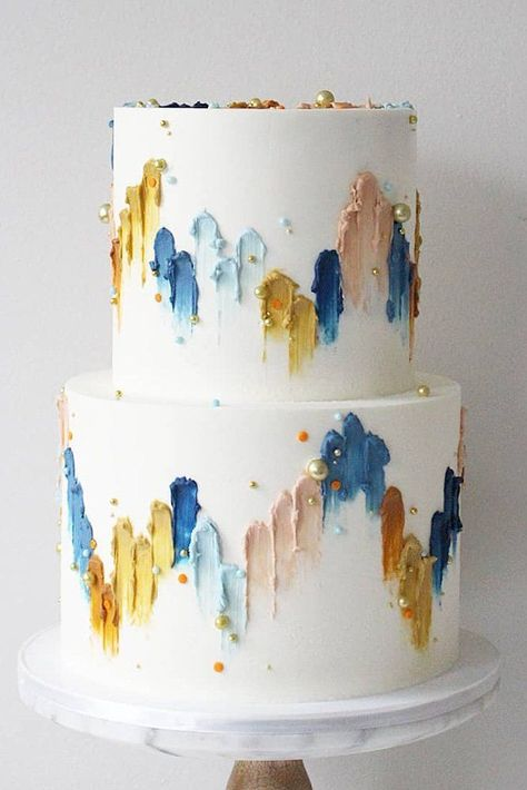 36 Fall Wedding Cakes That WOW ❤ fall wedding cakes white decorated with pearls and hand painted yellow blue abstract soulcakeshop cake decorating recipes anniversaire chocolat de paques cakes ideas Autumn Wedding Cakes, Fruit Wedding Cake, White Wedding Cakes, Autumn Cake, Summer Wedding, Wedding Cupcakes, Painted Wedding Cake, Purple Wedding, Wedding Cake Pearls