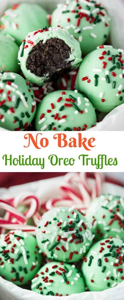 A sweet outer chocolate shell surrounds a decadent, chocolate Oreo filling. No baking necessary and only 5 ingredients needed!   The Cozy Cook   #christmas #oreos #chocolate #truffles #dessert #holidays #sprinkles #oreotruffles
