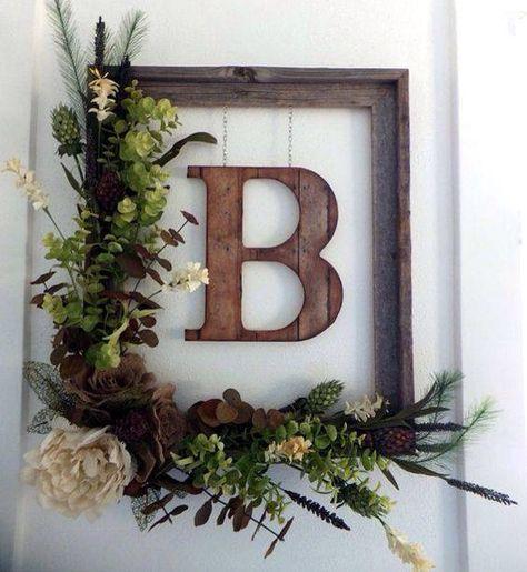 Beautiful rustic floral monogram wreath door decor!