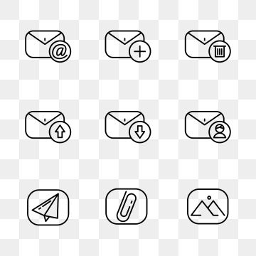 Set Of Email Icon With Simple Black Line Design Mail Email Vector Png And Vector With Transparent Background For Free Download Email Icon Icon Set Design Mail Icon