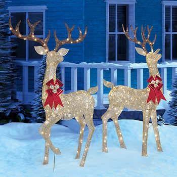 Led Lighted Deer Set Of Two Outdoor Christmas Reindeer Holiday Decor Christmas Holiday