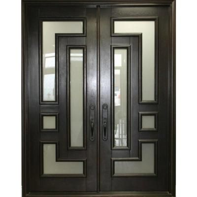 61 5 In X 81 In 2 Panel Right Hand Inswing Full Lite Frosted Glass Matte Black Finished Iron Pr In 2020 Double Front Entry Doors Front Entry Doors Double Door Design