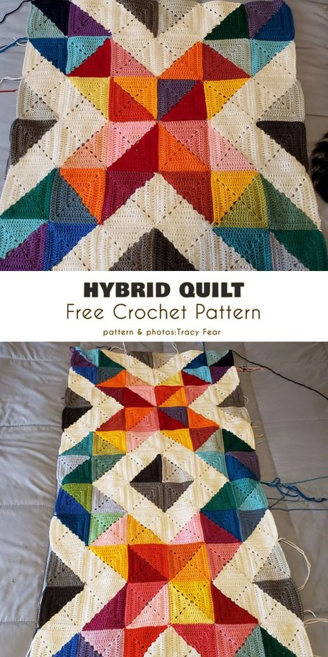Crochet blanket patterns 637611259728121952 - Hybrid Quilt Free Crochet Pattern This triangular half-square pattern combines both traditional complete squares and ones made of two triangular half-squares. Motifs Afghans, Afghan Crochet Patterns, Crochet Squares, Crochet Stitches, Quilt Patterns, Knitting Patterns, Crochet Afghans, Crochet Blankets, Baby Afghans