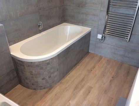 silver grey bathroom wood tile grey stone effect mosaic