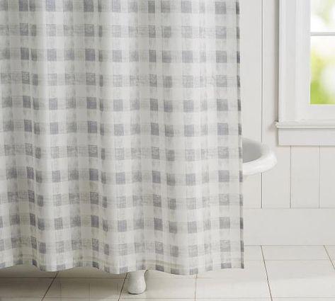 Rhett Check Shower Curtain Potterybarn Discountcurtains