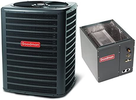 Goodman 1 5 Ton 14 5 Seer Air Conditioning System With Upflow Downflow Evaporator Coil In 2020 Heat Pump System Air Conditioner Btu Split System Air Conditioner