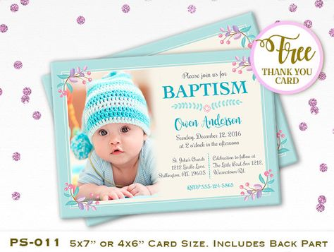 Baby boy christening \/ baptism \/ naming day photo invitation - naming ceremony invitation