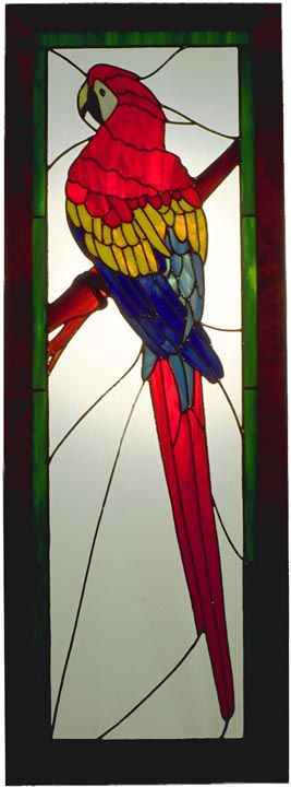 PARROT White and orange ....stained glass hanging