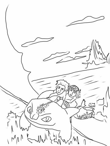 Astrid And Hiccup Ride Night Fury Coloring Page Dragon Coloring