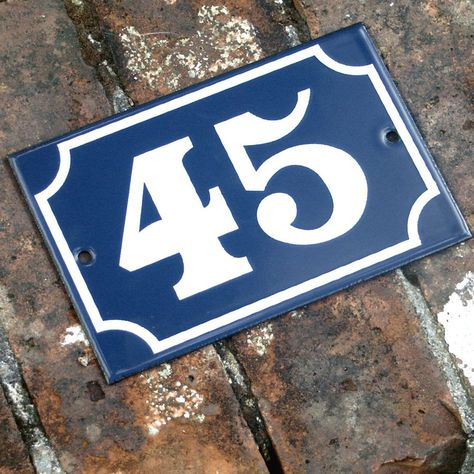 French enamel house numbers. 1-100. £18.50 from Willow & Stone. - House Number Plate No. 7 Original French Blue By LittleFrenchOwl