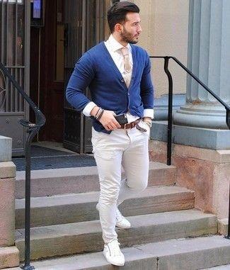 Look de moda: Cárdigan azul marino, Camisa de vestir blanca