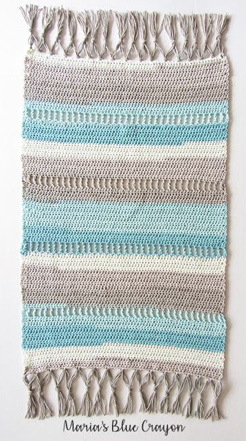 Coastal Indoor Rug , Free Crochet Pattern made with Caron