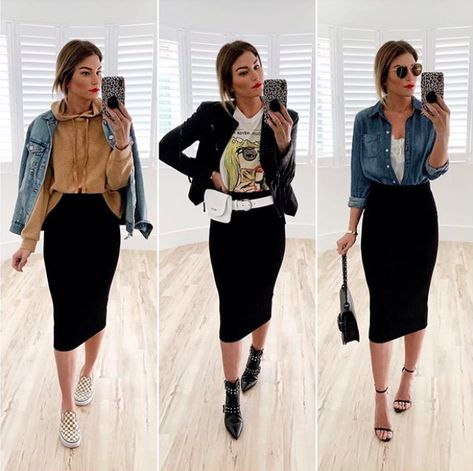 outfits with pencil skirt Black Pencil Skirt Outfit, Black Skirt Outfits, Pencil Skirt Casual, Pencil Skirts, Pencil Dress, Casual Skirts, Look Fashion, Skirt Fashion, Fashion Models