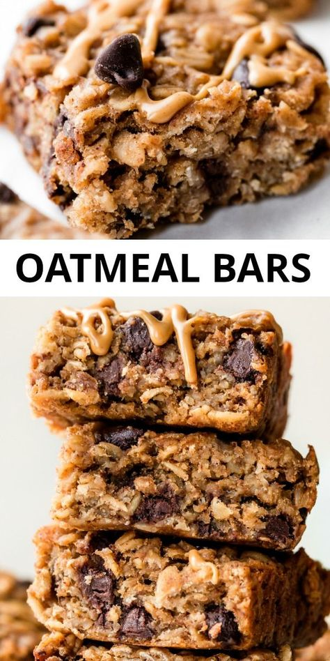 These peanut butter banana oatmeal candy bars can be made vegan, are gluten free and filled with healthy ingredients like oats, bananas, applesauce and peanut b Chocolate Chip Bars, Chocolate Oatmeal, Oatmeal Chocolate Chip Cookie Recipe, Healthy Sweets, Healthy Baking, Healthy Banana Recipes, Healthy Gluten Free Snacks, Baked Oatmeal Recipes, Protein Recipes