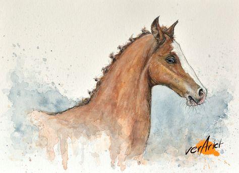 Westfalen Fohlen Das Portraits Eines Jungen Pferdes Gemalt In