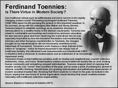 a comparison of gemiinschaft and gesellschaft terms as presented by ferdinand tonnies