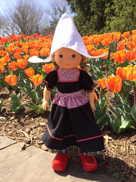 My Friend Mandy in Dutch costume for Halloween. She is wearing homemade dress and hat and purchased shoes.