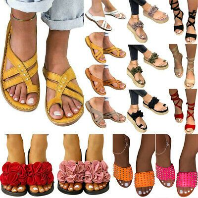 New Ladies Summer Beach Sandals Women Flats Sliders Strappy Flip Flop Shoes Size