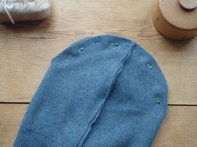 make a beanie hat pattern and tutorial, could use the bottom of a sweater instead of kid jumper.