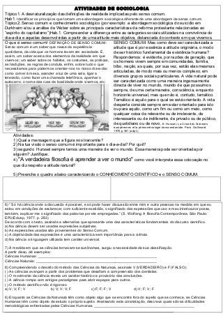 Atividades Senso Cumum Topico 1 E 2 Sociologia Sociologia