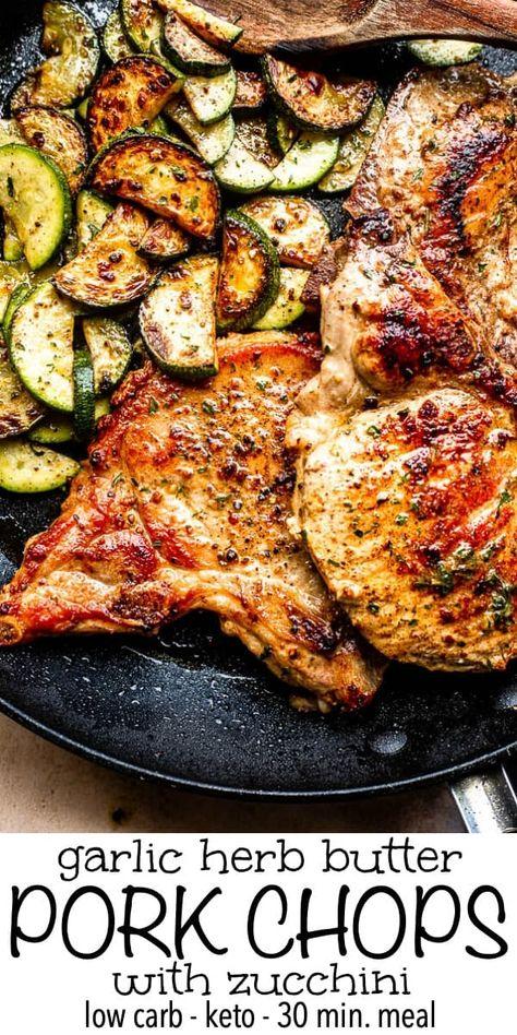 Garlic Butter Pork Chops with Zucchini | Easy Fried Pork Chops Recipe