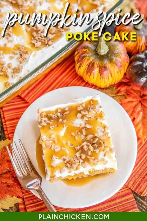 Pumpkin Spice Poke Cake - seriously delicious! The perfect ending to your holiday meal! Super easy to make. Yellow Cake, pumpkin, pumpkin spice, caramel sauce, sweetened condensed milk, toffee bits, cool whip, and caramel sauce. Even pumpkin haters LOVE this easy cake! Great for all your Fall get-togethers. A real crowd pleaser! #cake #pokecake #Pumpkin #pumpkincake