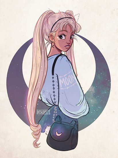 Moon Poster By Itslopez Cartoon Art Styles Girls Cartoon Art Cartoon Art