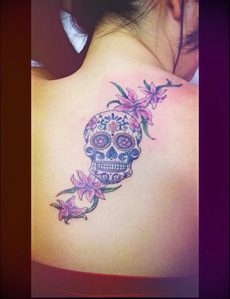 Sugar skull with tiger lilies