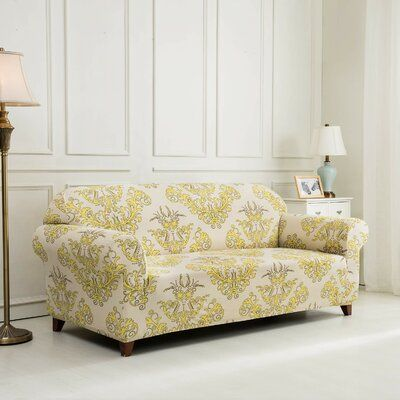 House Of Hampton Printed Floral Box Cushion Loveseat Slipcover Color Cushions On Sofa Slipcovered Sofa Slipcovers For Chairs