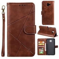 Embossing Geometric Leather Wallet Case For Samsung Galaxy J6 Plus J6 Prime Brown Galaxy J6 Plus Cases Guuds Leather Wallet Case Leather Wallet Leather